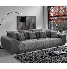 canapé grande assise grand canapé droit byouty 4 places taupe et tissu
