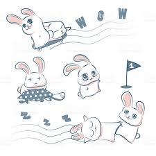 cute rabbit and turtle doodle hand drawing vector illustration