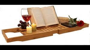 Bathtub Book Tray Bath Caddy Tray Bamboo Book Holder Extend Tub Jacuzzi Wood Luxury