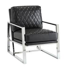 Black Leather Accent Chair Coaster Faux Leather Accent Chair In Black 900622