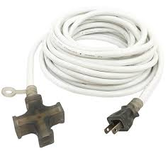 white extension cord 2 conductor 3 outlet extension cord