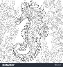 zentangle stylized cartoon seahorse tropical fish stock vector
