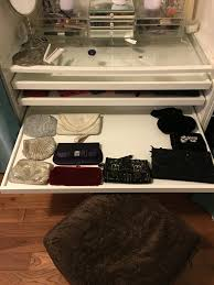clutch storage in vanity ikea pax with pull out trays updated