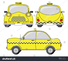 cartoon car back taxi car vector illustration front back stock vector 179841665