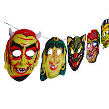 vintage halloween garland 2 d funny masks photo