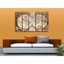 Large Wall World Map by Extra Large Wall Art Print On Canvas World Map Retro Global Atlas