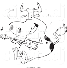 vector of cartoon cow guitarist coloring page outline by