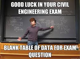 Civil Engineering Meme - good luck in your civil engineering exam blank table of data for