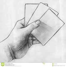 hand with cards sketch stock illustration image 44192132