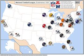 Dallas Cowboys Stadium Map by Nfl Cities Map With Conferences Displayed Nfl