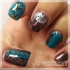 tribal native american nails and migi nail art pens gelish geekery