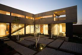 Glass And Concrete House by U Shaped House With Glass Lower Floor And Concrete Upper