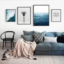 living room prints abstract seascape canvas paintings nordic inspiring posters and