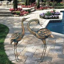 copper patina crane garden stake metal yard lawn bird sculpture