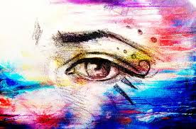 sketch of eye with eyebrow and makeup ornaments drawing on