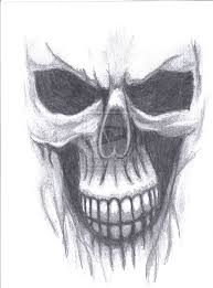 drawn ssckull ghost pencil and in color drawn ssckull ghost