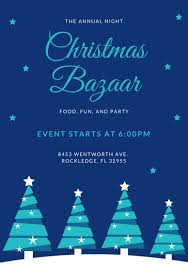 blue christmas blue christmas bazaar event program templates by canva