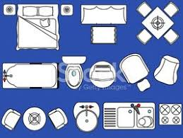 simple furniture floor plan vector icons set 3 stock vectors