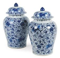 Large Chinese Vases A Pair Of Large Chinese Porcelain Blue And White Vases And Covers