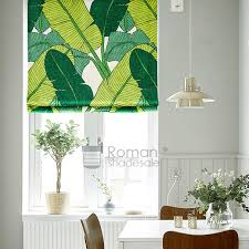 Roman Blinds Pattern Creative Banana Leaf Pattern Print Linen Cotton Roman Blinds