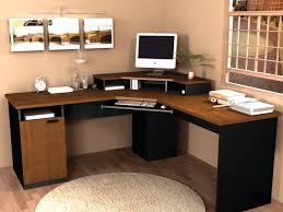 Desk With Computer Storage Black And Brown Pine Wood Corner Home Office Desk Which Furnished