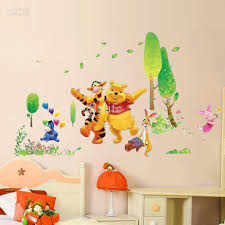 winnie the pooh and happy animals in natural world cartoon wall winnie the pooh and happy animals in natural world cartoon wall decor stickers decals for nursery kids room flower wall stickers flowers wall stickers from