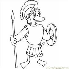 roman duckling soldier coloring free fantasy coloring pages