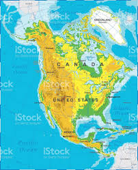 North America Physical Map by