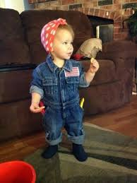 rosie the riveter toddler halloween costume easy thrifted upcycle