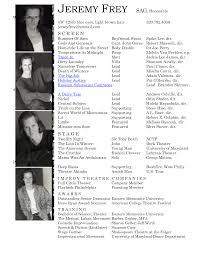 Dancer Resume Format Sample Professional Acting Resume Link To Sample Acting Resumes