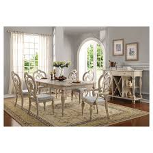 abelin dining table antique white acme target
