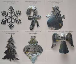 set of six handmade christmas ornaments recycled aluminum fresca