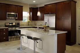 dark brown kitchen cabinets with stainless steel appliances