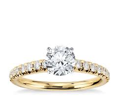 engagement rings yellow gold pavé diamond engagement ring in 14k yellow gold 1 4 ct tw