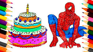 coloring pages birthday cake for spiderman coloring book video for