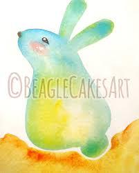 blue bunny rabbit watercolor giclee illustration print cute
