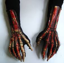 Halloween Costume Gloves Bloody Skeleton Death Beast Claws Hands Scary Halloween