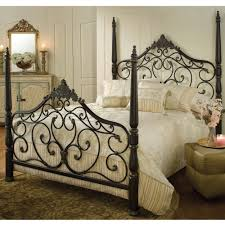 Metal Bed Frame Headboard Black Metal Four Poster Bed Frame With Intricate Headboard And