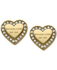 heart ear rings images Michael kors crystal heart stud earrings jewelry watches macy 39 s tif