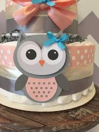 owl diaper cake in coral and grey owl baby shower centerpiece