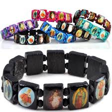 religious bracelet aliexpress buy saints jesus religious wood catholic icon