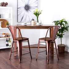 tabouret 24 inch wood seat brushed copper bistro counter stools
