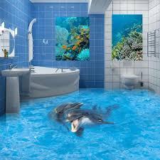 badezimmer 3d epoxidharz bad bodenbelag 3d meer delfinenpaar badezimmer