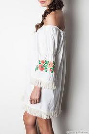 off the shoulder floral embroidered fringe bell sleeve dress white