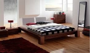 Platform Style Bed Frame Solid Wood Japanese Style Platform Bed Frame And Modern Headboard