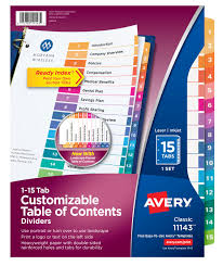 avery 15 tab table of contents color template avery customizable table of contents dividers 15 tab set multicolor