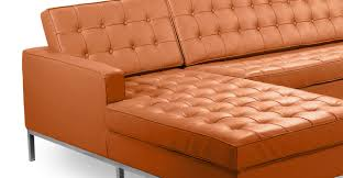 Camel Leather Chair Florence Left Sectional Luxe Camel Leather Kardiel