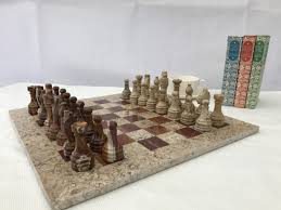 fossil and coral chess set with beautiful 16 inch marble chess