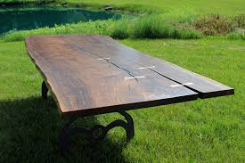 Raw Edge Table by 0004x1 Finished Claro Walnut Live Edge Table Top Curly Figure And