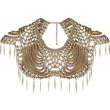 gold statement collar necklace images Gold tone pearl and spike collar necklace 624979 once wed jpeg
